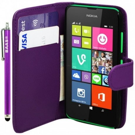 Etui Housse Cuir Violet Portefeuille Nokia Lumia 530 + stylet + 3 films offerts