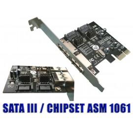 CARTE CONTROLEUR PCI EXPRESS 2 SATA INTERNES + 2 SATA EXTERNES SATA3
