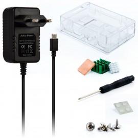 Kit Raspberry Pi 3 Model B boitier transparent + 5v 3000mA Alimentation + dissipateur thermique Pour RASPBERRY PI 3 Model B