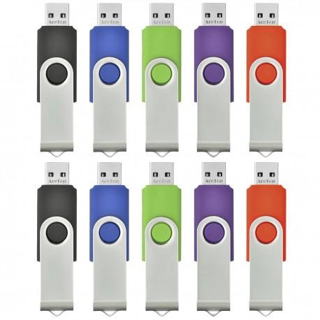 Lot de 10 clés USB 2.0 4 Go couleurs mixtes