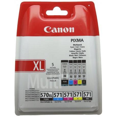 Canon 570 571 Multipack Cyan + Magenta + Jaune + Noir + Noir XL CLI-571C CLI-571M CLI-571Y CLI-571BK + PGI-570PGBK XL