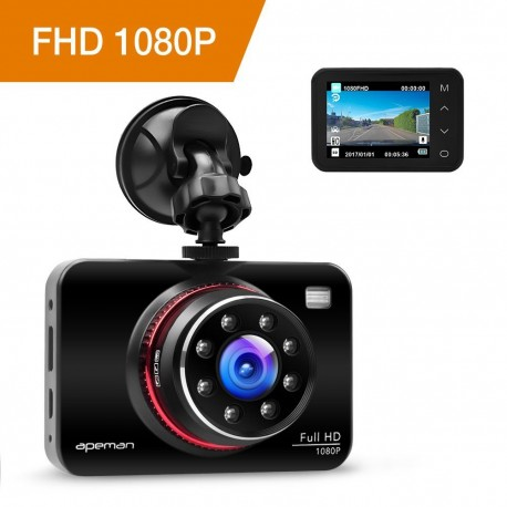 Caméra de voiture Full HD 1080p WDR avec fonction stationnement, Capteur-G, enregistrement en boucle