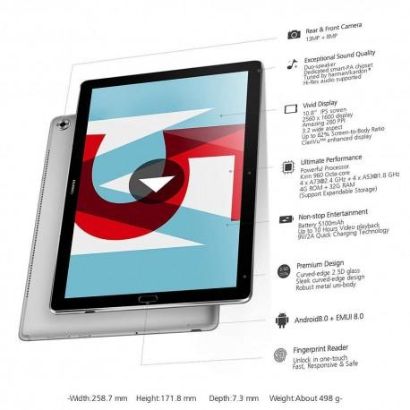 Tablette tactile Huawei MediaPad M5 10,8'' (32 Go, 4 Go de RAM, Android 8.0, Bluetooth, Gris)