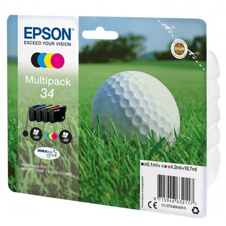 Epson multipack T34 Noir, Cyan, Magenta, Jaune T3466 Balle de Golf