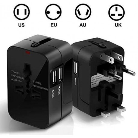 ADAPTATEUR SECTEUR UNIVERSEL AU UK EU US + 2 x USB