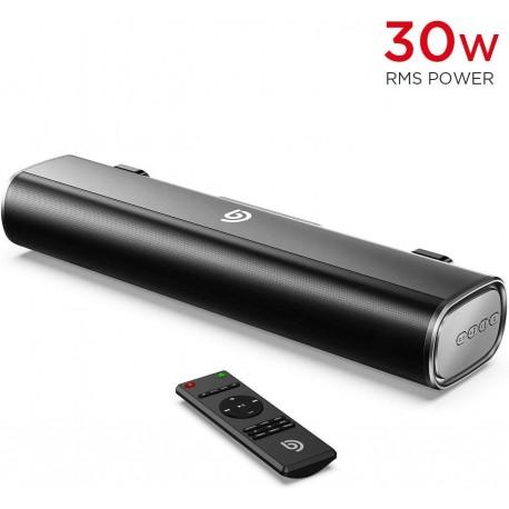 Mini-Barre de Son 30W RMS avec entrée Bluetooth 5.0, câble Optique, AUX ou USB pour TV, PC, Téléphone Portable, Videoprojecteur