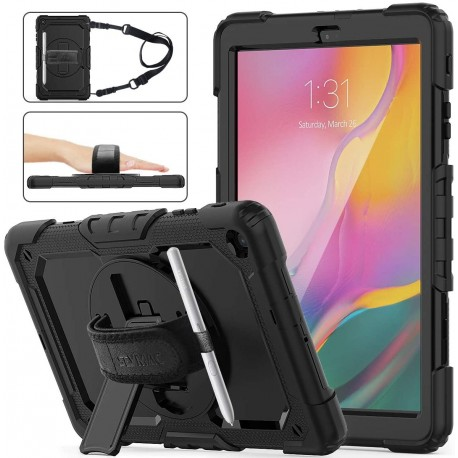 Coque pour Samsung Galaxy Tab A 10.1 T510/T515/T517 2019 Antichoc avec Sangle Support 360 et Porte-Stylet - CPC informatique