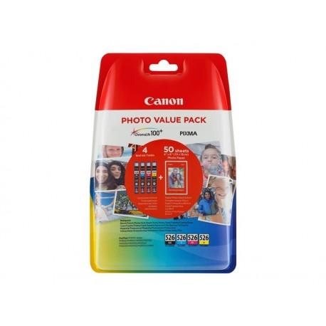 Canon 526 Multipack C/M/Y/BK Noir + 3 Couleurs + papier photo offert