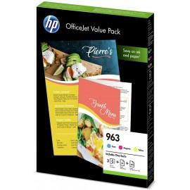 HP 963 Couleur Value Pack (3 cartouches couleur + papier offert)