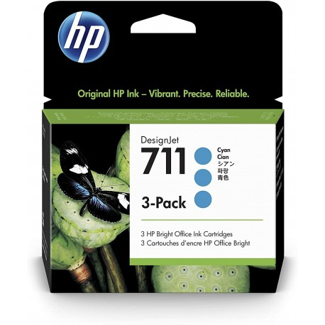 HP 711 Couleur 3-Pack (lot de 3 cartouches de la même couleur)