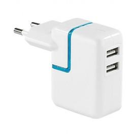 ADAPTATEUR SECTEUR USB 2 PRISES (2000 mAh)